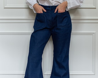 Vintage 30 Waist Flare Jean | 70s Bell Bottom Kick Flare | Nautical Birkin Sailor |