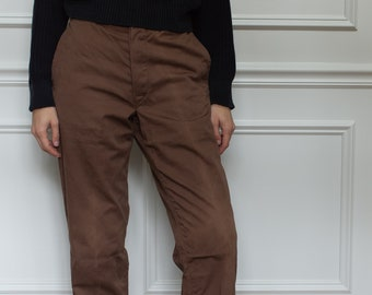 Vintage 29 Waist Coffee Brown Cotton Chinos | Button Fly Trousers |