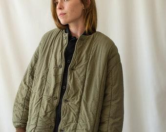 Vintage Olive Green Cotton Quilt Jacket | Puffer Coat | Liner | M L | CC002