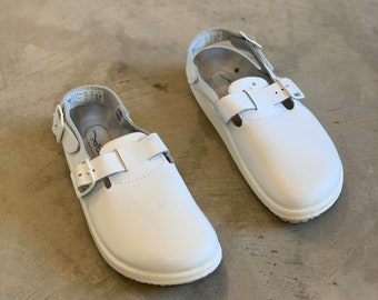 White Leather Strap Back Clogs / Rubber / double strap / Made in Germany / Size 40