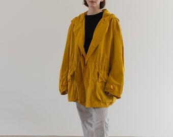 Vintage Mustard Yellow Anorak | Hood Drawstring Parka Jacket | L XL |