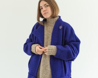 Vintage Blue Purple Wool Sweater Coat | Dolman Sleeves 80s Shoulders Belted Coatigan | M L |