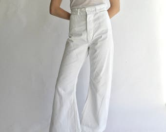 Vintage 24 Waist White Sailor Pant | High Rise White Cotton Flare | Button Fly 70s Flares |