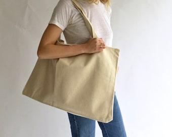 SAMPLE SALE   Vintage Canvas Oversized Tote Bag Double strap   Weekender Bag   Simple Minimal Book Bag   Canvas Market Bag