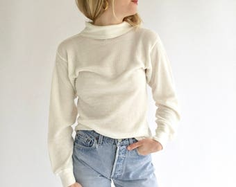 Vintage White Waffle knit Mock Turtleneck | 70s 80s white thermal | Waffleknit Cotton blend