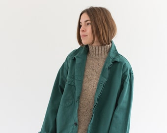 Emerald Green Single Pocket Work Jacket | Unisex Cotton Utility Work Jacket | Made in Italy | L| IT171