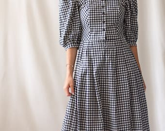 Vintage Black White Gingham Puff Sleeve Dress | Plaid Fitted Bodice Prairie Modern | 80s | S