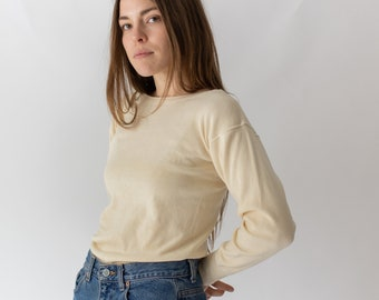 Vintage Butter Cream Ribbed Thermal | Wool Cotton military henley | 40s 50s Knitwear | S |