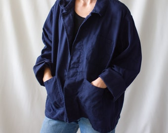 Vintage Navy Blue Work chore Jacket | Dark Blue Cotton Military Utility Work Jacket | L XL | IT006