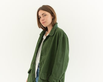 Vintage Olive Green Army Jacket | Forest Green Cotton Workwear | L |