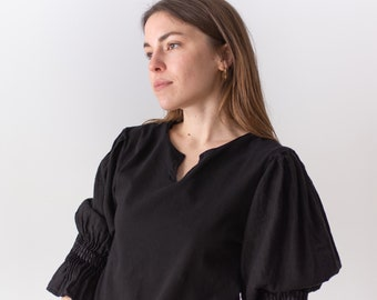 Vintage Black Puff Sleeve Shirt | Linen Lace Up | Romantic Blouse | S | BP044