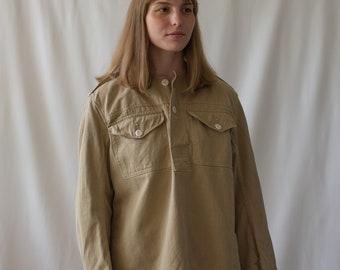 Vintage Tan Khaki Popover Shirt | Long Sleeve Pullover | Artist Studio Top Smock Tunic | Corozo Buttons | M L