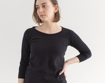Vintage Black Overdye Boatneck Thermal | Gusseted Sleeves | 60s Cotton Comfy Lounge Shirt | XS S