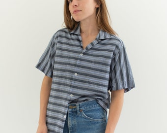 Vintage Grey Blue Stripe Short Sleeve Loop Collar Shirt | Double Pocket Simple Blouse | Cotton Work Shirt | S
