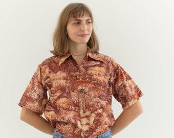 Vintage Rust Orange Tropical Print Short Sleeve Shirt | Surf N Sand Blouse | Hawaiian Top | S |
