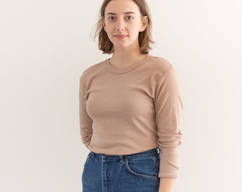 Vintage Dusty Pink Thermal Shirt | Crewneck Tee | Cotton Blend | XS S |