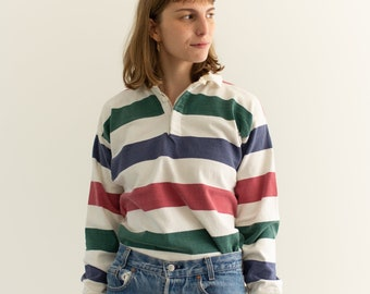 Vintage Striped Rugby Shirt | Land's End Green Blue Red Stripe Athletic Henley Thermal | Thick Cotton | S M