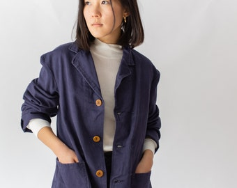 Vintage Navy Blue British Chore Coat Blazer | Corozo Buttons | Made in England | S M L