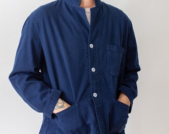 Vintage True Blue Overdye Chore Jacket | Double Pocket Dark Blue Cotton French Workwear Style Utility Work Coat Blazer | XS S M L XL