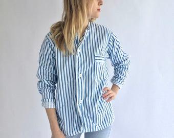 Vintage Blue Striped Button Down Blouse | Stripe Cotton Pajama Pyjama shirt | Vertical Stripe Button Up | Button Up | European Military