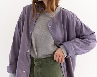 Vintage Lavender Purple Side Snap Shirt Jacket | 1950s Smock Tunic | M |