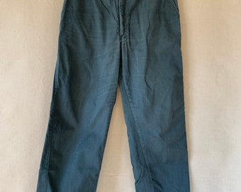 Vintage 33 Waist Teal Cotton Twill Chinos Pants  | TC21