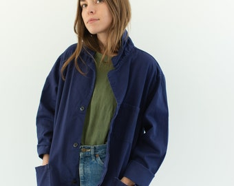 Vintage Navy Blue Work Chore Jacket | Unisex Cotton Utility Work Jacket | Made in Italy | M L | IT186