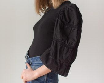 Vintage Black Puff Sleeve Shirt   Rib Knit Cotton Crochet   Romantic Blouse   XS S   BP065