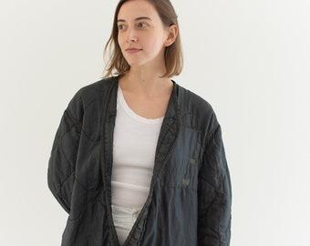 Vintage Black Liner Jacket | Quilted Nylon Coat | Wavy Liner Layer | M L |
