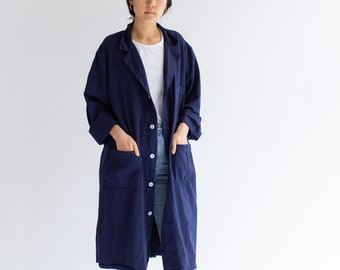 Vintage Navy Blue Shop Coat | Overdye Chore Trench Jacket | Duster | S M L XL |