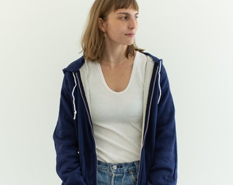 Vintage Navy Blue Sweatshirt | Deadstock NOS Zip Up Hoodie Waffleknit Liner | Healthknit 70s Sweatshirt | Made in USA