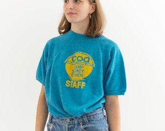 Vintage Blue Yellow Short Sleeve Raglan Sweatshirt | Camp Sidney Cohen | M |