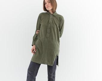Vintage Olive Green Tunic | Pajama Dress | Long Polo | Long Henley | XS