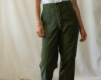 Vintage 27 Waist Olive Green Army Pants | Utility Fatigues Military Trouser | Button Fly OG 107 | F202