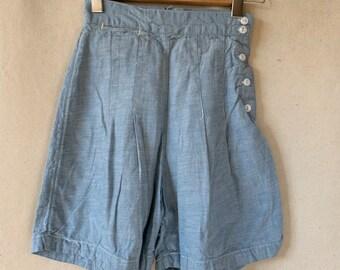 Vintage 22 24 Waist Blue Chambray Tap Shorts Deadstock | sailor shorts | XXS