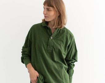 Vintage Forest Green Popover Tunic Shirt   Pullover   Cotton Henley   M   GP006