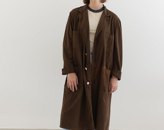 The Corozo Shop Coat in Chocolate Brown | Vintage Sun Fade Overdye Chore Trench Jacket | Painter Duster | S M L XL