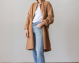 Vintage Almond Brown Overdye Shop Coat | Brown Chore Trench Jacket | M L |