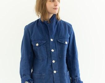 Vintage Blue Sun Faded Chore Jacket | Unisex Denim Swedish Cotton Workwear Utility Work Coat Blazer | SC005 | S