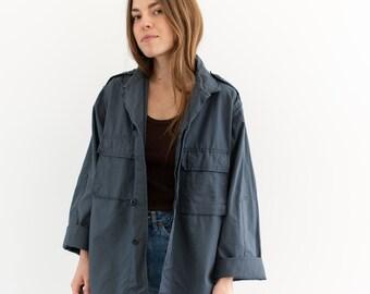 Vintage Slate Blue Grey Cotton Ripstop Lightweight Jacket | Unisex Windbreaker | M |