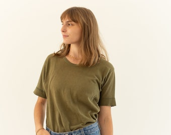 Vintage Scoopneck Olive Green Crew T-Shirt | Worn 80s Cotton Crewneck Tee Shirt | S |