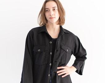 Vintage Black Cotton Overshirt   Work Shirt   Long Sleeve Button Up Utility Shirt   OG 107 Workwear Overdye   S M  