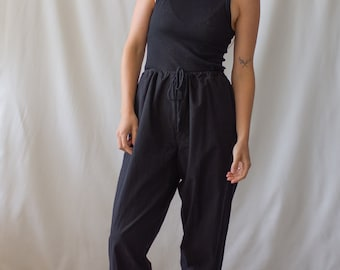 Vintage 24-38 Waist Slim Black Drawstring Easy Pant | High Waist Cotton Pants | 25 26 27 28 29 30 31 32 33 34 35 36 37