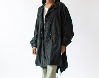 Vintage Black Fishtail Parka Jacket | Balloon Sleeve Smock Drawstring Layer |