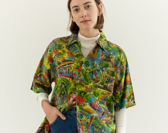 Vintage Tropical Print Short Sleeve Shirt   Hawaii Diamond Head Blouse   Hawaiian Top   S M