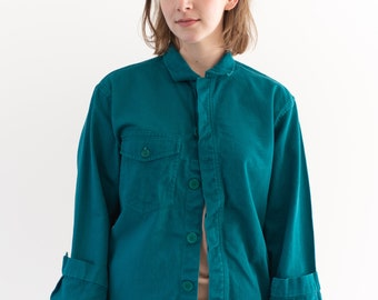 Vintage Teal Single Pocket Overshirt | Unisex Cotton Utility Work Jacket | Made in Italy | S | IT143