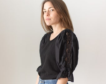 Vintage Black Puff Sleeve Shirt | Braided Neckline | Romantic Blouse | S M | BP100