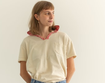 Vintage Jantzen Terrycloth Red Plaid Short Sleeve Shirt | Loop Collar Tee Shirt | Made in USA | S |
