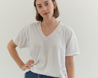Vintage Cotton White V Neck Tee T Shirt   Semi sheer T-Shirt Tee Shirt Top   Made USA   S M   T041 