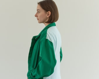 Vintage Two Tone Green Sky Blue Chore Coat | Unisex Cotton Workwear Jacket | Made in Italy | M | IT169